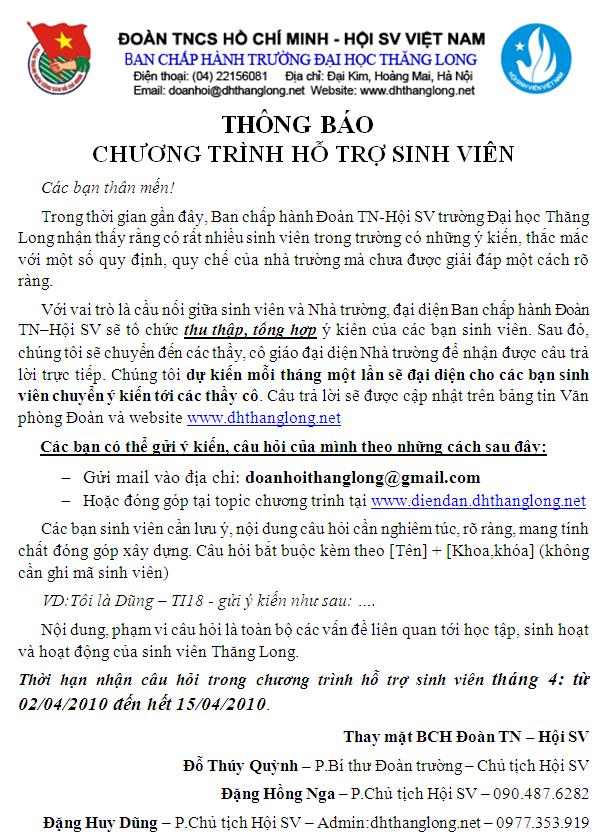 ThongBaoChuongTrinh HoTroSinhVien Chương trình Hỗ trợ sinh viên!
