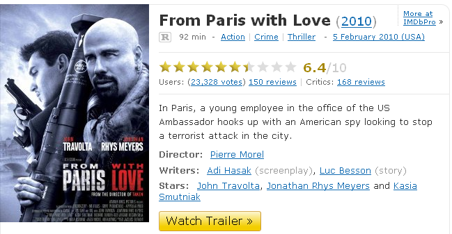 frompariswithlove2010imdb1291161947996 From paris with love 2010[Viet Sub][Xem Online]
